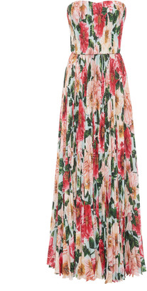 Dolce & Gabbana Pleated Camellia-Print Silk Strapless Gown