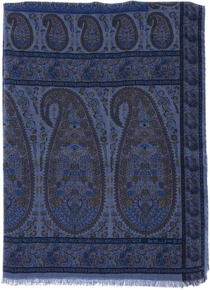 Etro Paisley Pattern Silk And Cashmere Scarf