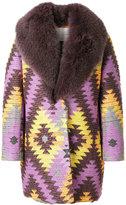 Giada Benincasa - fox fur collar embroidered coat