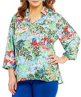 Investments Plus 3/4 Sleeve Collared V-Neck Top