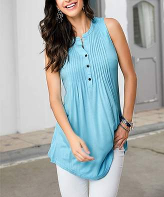Reborn Collection Women's Tunics Aqua - Aqua Sleeveless Notch Neck Pin-Tuck Tunic - Women