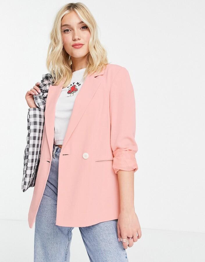 Miss Selfridge fluid crepe blazer in pink