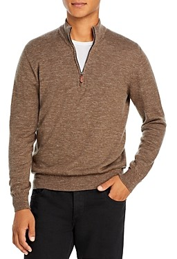 Inis Meáin Wool & Linen Melange Classic Fit Half Zip Mock Collar Sweater