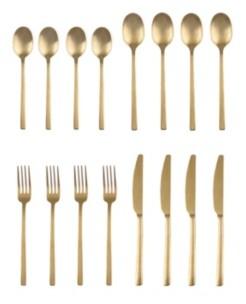 Cambridge Silversmiths Beacon Gold Satin 16-Piece Flatware Set, Service for 4