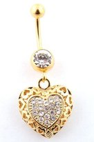 JOTW Goldtone Fully Iced Out Hollow Heart Shaped and Stone Beaded Surgical Stainless Steel Belly Ring