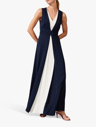Phase Eight Addy Monochrome Maxi Dress, Navy/Ivory