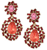 Oscar de la Renta Baguette Cluster Crystal Statement Earrings, Berry