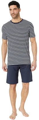 Hanro Night Day Short Sleeve Pajama Set (Navy Stripe) Men's Pajama Sets