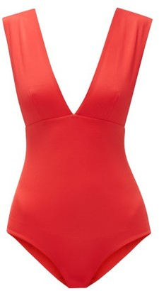 ODYSSEE Franklin Plunge-neck Swimsuit - Red