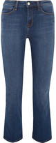 L'Agence Serena Cropped Mid-rise Bootcut Jeans - Mid denim