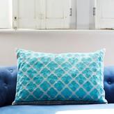 Graham and Green Phulkari Rectangular Cushion In Turquoise
