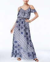 INC International Concepts Petite Printed Cold-Shoulder Maxi Dress, Only at Macy's
