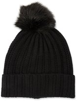 Neiman Marcus Knit Wool-Blend Pompom Hat, Black