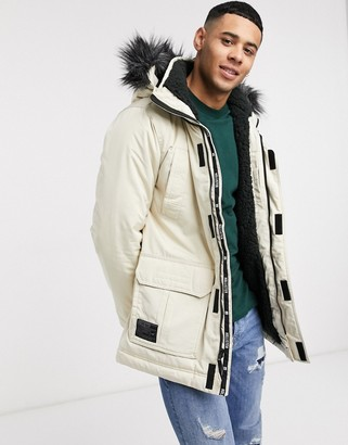 Hollister all weather faux fur hood borg lined parka in stone