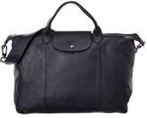 Longchamp Le Pliage Cuir Large Leather Logo Strap & Short Handle Tote
