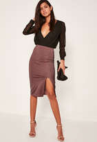 Missguided Purple Shiny Ribbed Split Front Midi Skirt