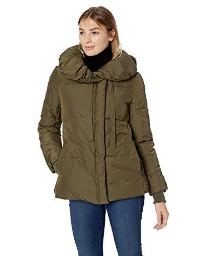 Lark & Ro Amazon Brand Women's Short Shawl Pillow Collar Puffer Jacket