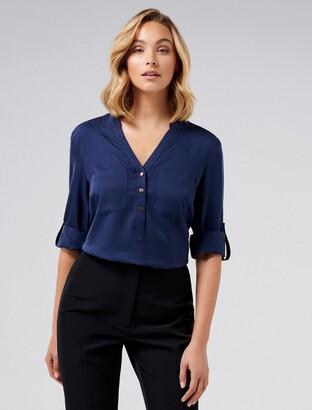 Forever New Mika Popover Roll Sleeve Shirt - Navy - 4