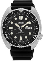 Seiko Mens Black Silicone Automatic Diver Bracelet Watch