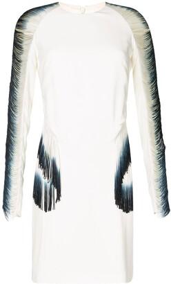 Dion Lee Fringed Long-Sleeve Silk Dress