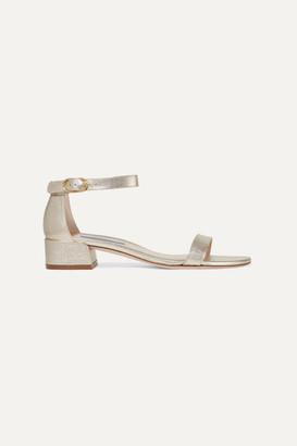 Stuart Weitzman Nudistjune Metallic Textured-leather Sandals - Gold