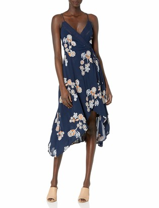 J.o.a. Women's Wrap Style Floral Print Embroidered Maxi Dress