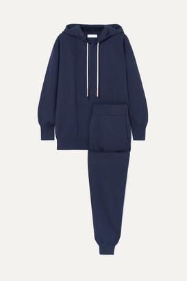 Olivia von Halle Gia Paris Silk And Cashmere-blend Hoodie And Track Pants Set - Indigo