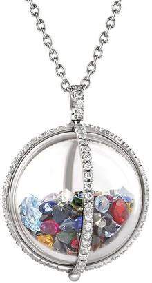 Moritz Glik 18kt White Gold Confetti Globe Shaker Diamond And Sapphire Pendant Necklace