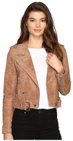 Blank NYC Camel Suede Moto Jacket in Coffee Bean Women's Coat