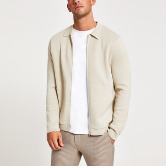 River Island Mens Beige slim fit long sleeve knitted overshirt