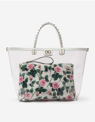 Dolce & Gabbana Tropical Rose Print Beatrice Shopping Bag With Pouch