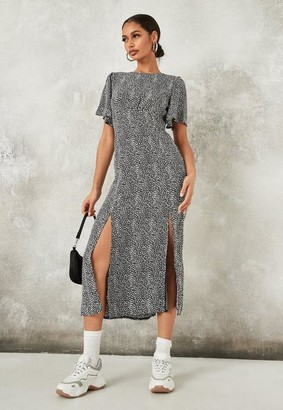 Missguided Dalmatian Print Flutter Sleeve Midi Dress
