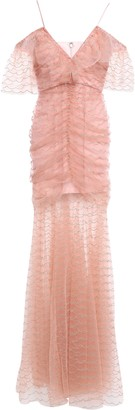 Alice McCall Venus Cold-shoulder Ruched Embroidered Metallic Tulle Gown
