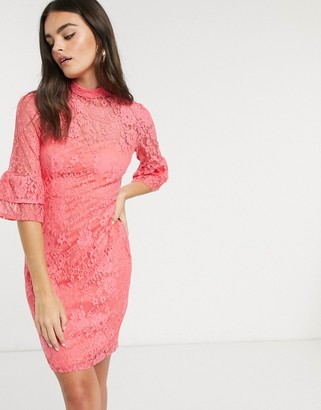 Paper Dolls lace dress with fluted sleeves in pink