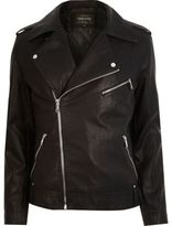 River Island Black Leather-look Biker Jacket