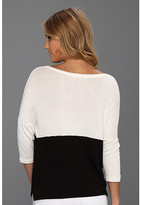 Three Dots Loose Rayon Colorblock 3/4 Sleeve Boxy Top w/ Slits