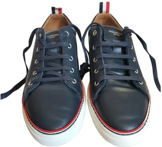 Thom Browne Navy Leather Trainers
