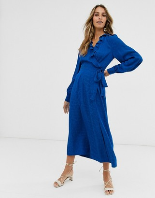 And other stories & jacquard wrap-front midaxi dress in bright blue