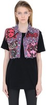 Patricia Field Art Fashion Tom Tom Shark Attack Studded Denim Vest