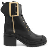 Burberry Buckled Glossed-leather Boots - Black