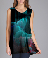 Lily Blue & Teal Northern Lights Sleeveless Tunic - Plus Too