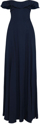 Reformation Verbena Off-the-shoulder Ruffle-trimmed Crepe Gown