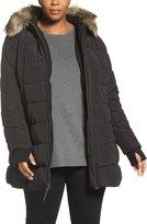Lucky Brand Belted Puffer Jacket with Faux Fur Trim (Plus Size)