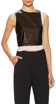 Alice + Olivia Leather Sleeveless Contrast Crop Top