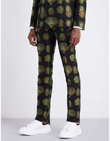 Alexander Mcqueen Peacock Regular-fit Jacquard Cotton-blend Trousers