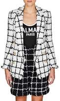 Balmain Women's Grid-Checked Tweed Double-Breasted Blazer