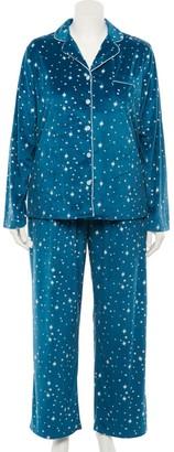 Croft & Barrow Plus Size Velour Pajama Shirt & Pajama Pants Set