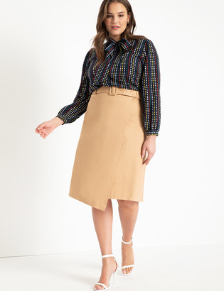 ELOQUII Wrap Front Skirt with Buckle