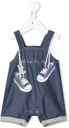 Lapin House Little Boys Big Steps print overalls