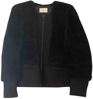 Sandro Black Shearling Coat for Women
